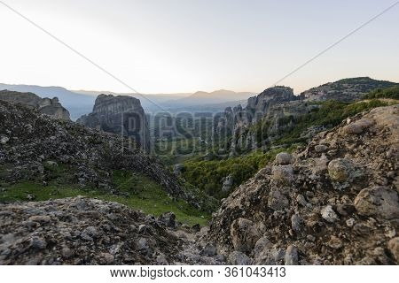 Meteors With Orthodox Monasteries,  View From The Plateau To The Valley Of A Cliff Top And Of Thessa