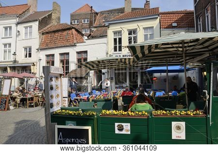 Cobbled Square In Brugge Old Town