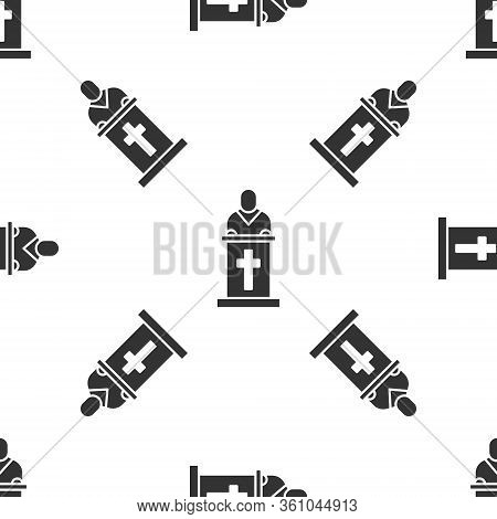 Grey Church Pastor Preaching Icon Isolated Seamless Pattern On White Background. Vector Illustration