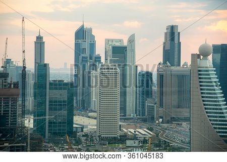 Dubai - November 15: Panorama Of Tall Skyscrapers In Skyline Of Dubai, November 15, 2019 In Dubai, U