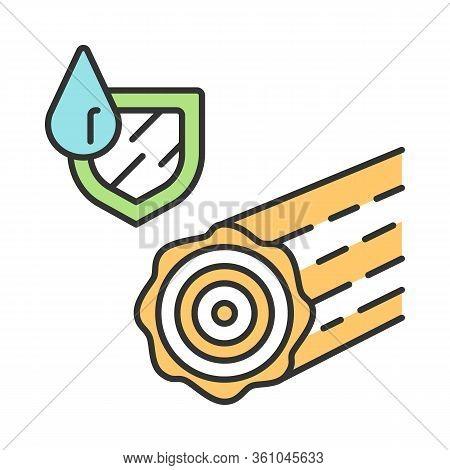 Waterproof Wood Color Icon. Durable Water Resistant Log. Weatherproof Building, Construction Materia
