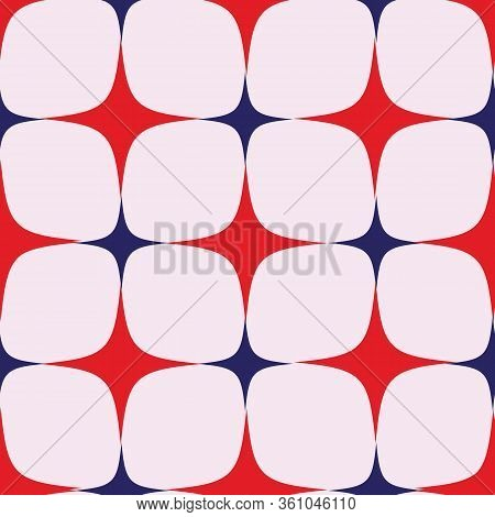 Seamless Vector Pattern, Red And Blue Star With 4 Ends. Retro Pattern. Seventies.