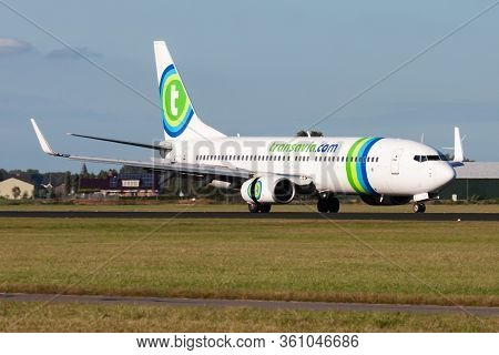 Amsterdam / Netherlands - August 13, 2014: Transavia Boeing 737-800 Ph-hsa Passenger Plane Arrival A