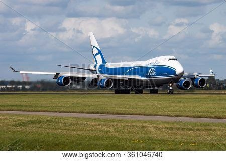 Amsterdam / Netherlands - August 14, 2014: Airbridgecargo Airlines Boeing 747-400 Vp-bik Cargo Plane