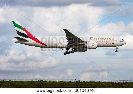 Amsterdam / Netherlands - August 14, 2014: Emirates Skycargo Boeing 777-200 A6-efe Cargo Plane Arriv