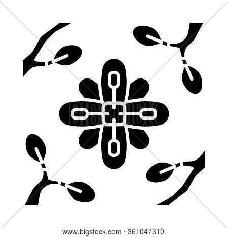 Larrea Glyph Icon. Creosote Bush. Mexican And United States Exotic Flora. Flower Framed Twigs. Silho