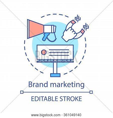 Brand Marketing Concept Icon. Branding Idea Thin Line Illustration. Communication, Sales, Product, S