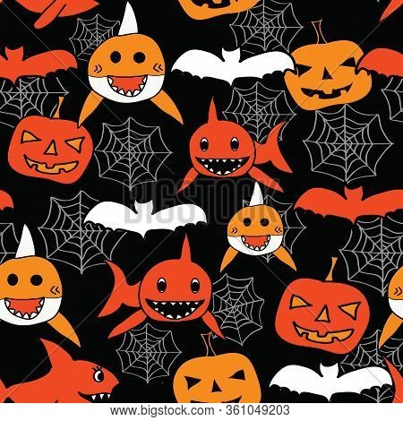 Seamless Vector Baby Shark Halloween Pattern. Baby Shark, Pumpkin, Spider Web And Bats In Red, Orang