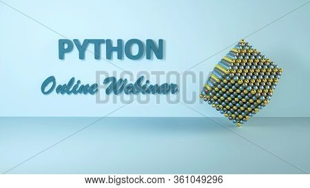 3d Illustration Of Python Online Webinar For Advertisement. Online Learning Banner. Coding Concept.