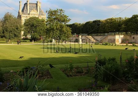Paris, France - August 26, 2019: Jardin Des Tuileries Or The Tuileries Garden, Paris, France