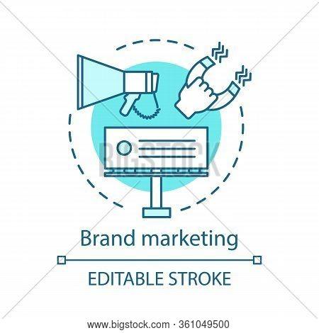 Brand Marketing Concept Icon. Branding Idea Thin Line Illustration. Orporate Image. Communications,