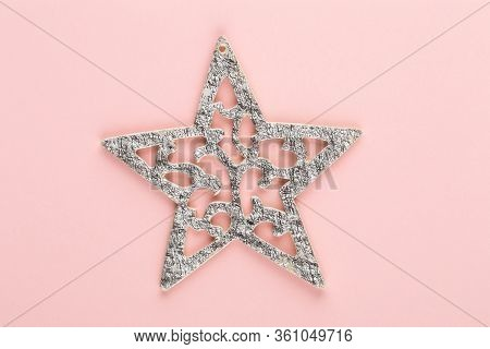 Abstract Christmas Decor. Christmas Holiday New Year Concept Minimal Pink Background.