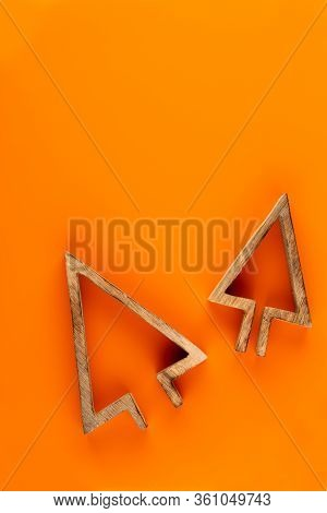 Christmas Composition. Christmas Decorations On Orange Background. Flat Lay, Top View, Copy Space.