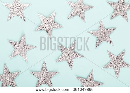 Christmas Composition. Christmas Decorations On Color Background. Flat Lay.