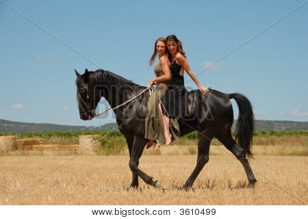 two friends are horseback riding their black stallion poster