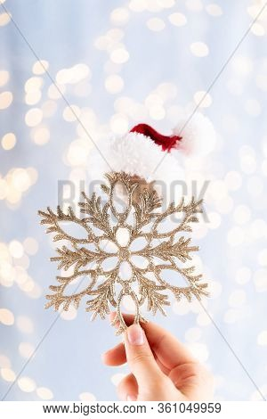 Vintage Christmas Background With Christmas Decoration. Christmas Greeting Card. Festive Decoration