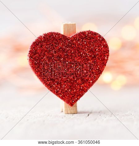 Red Heart In Bokeh Lights Background. Valentine.