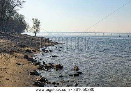Picturesque Nature Landscape Of Dnipro River With Empty Beach In Island Of Hydropark. Many Stones On