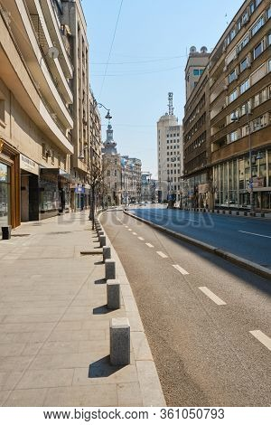 Bucharest, Romania - April 10, 2020: Empty Victoriei Street On A Friday Afternoon During The Coronav