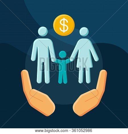 Social Benefits Flat Concept Vector Icon. Low Income Financial Assistance Idea Cartoon Color Illustr