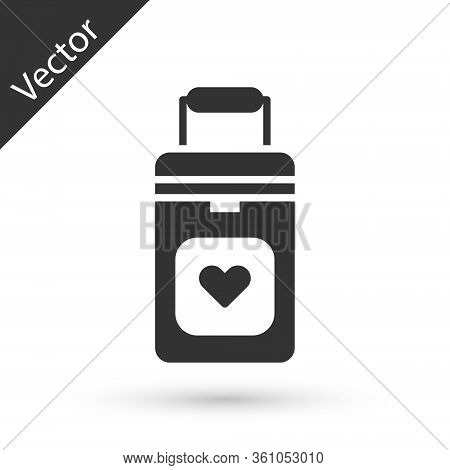 Grey Cooler Box For Human Organs Transportation Icon Isolated On White Background. Organ Transplanta