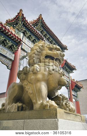 Chinese Female Foo Dog Guardian At Chinatown Gate
