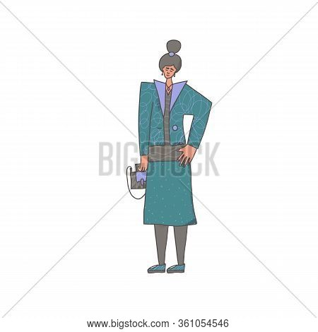 Smiling Girl Standing Isolated On White Background. Snappy Dressed Woman. Vector Illustartion.