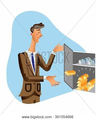 Rich Businessman Flat Vector Illustration. Successful Man In Suit Putting Gold Bars In Safebox Carto