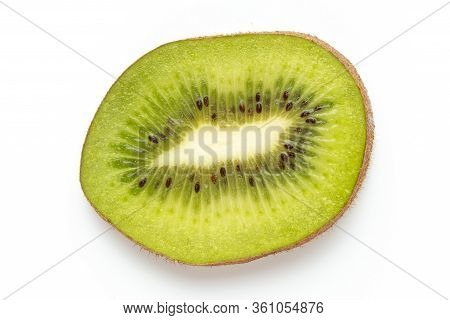 Kiwi Fruit Slices Macro. Ripe Kiwi Fruit Isolated On White Background. Flat Lay.fresh Tropical Abstr