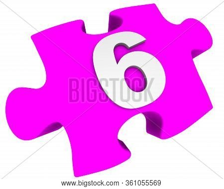 The Number Six. Puzzle Element. The White Number 6 (six) On One Pink Puzzle Element. Isolated. 3d Il