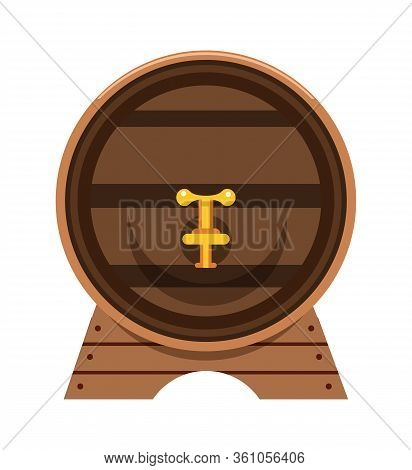 Oak Barrel With Faucet Flat Vector Illustration. Wooden Cask, Alcohol Drink Container Front View. Na