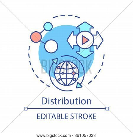 Distribution Concept Icon. Post Production Idea Thin Line Illustration. Mass Distribution. Global Tr