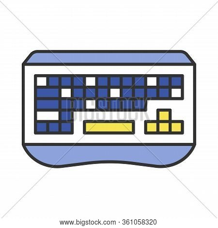 Gaming Keyboard Color Icon. Esports Equipment. Ergonomic Computer Device For Gamer. Isolated Vector