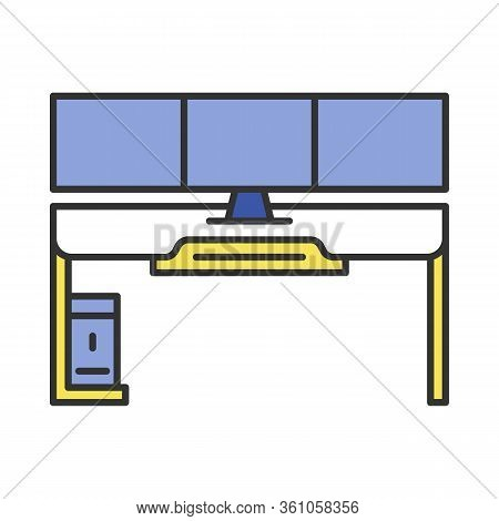 Gaming Desk Color Icon. Esports Environment. Ergonomic Furniture For Gameplay. Gamer Computer Table.