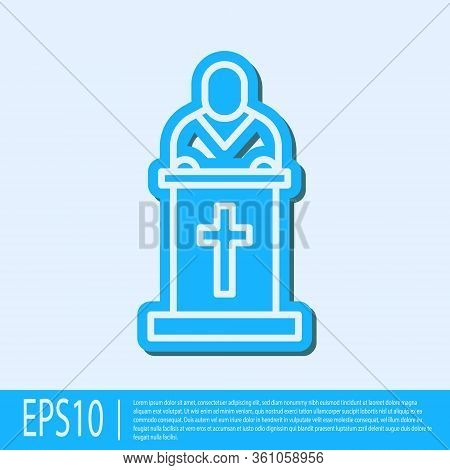 Blue Line Church Pastor Preaching Icon Isolated On Grey Background. Vector Illustration