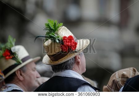Bucharest, Romania - March 5, 2020: Details With The Traditional Romanian Straw Hat Of A Senior Man,