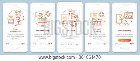 Branding Types Onboarding Mobile App Page Screen, Linear Concepts. Co-branding. Five Walkthrough Ste