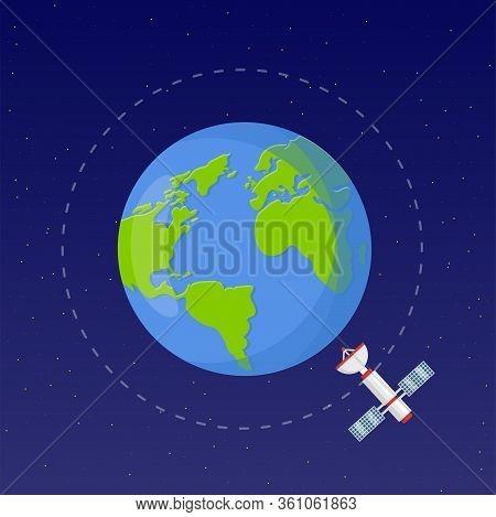 Space Exploration Flat Vector Illustration. Astronautics Technology. Earth Observation Satellite. Sp