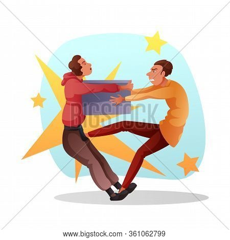 Funny Cartoon Male Characters Fighting For Last Sale Item In Stock. Two Angry Furious Mad Men On Cra