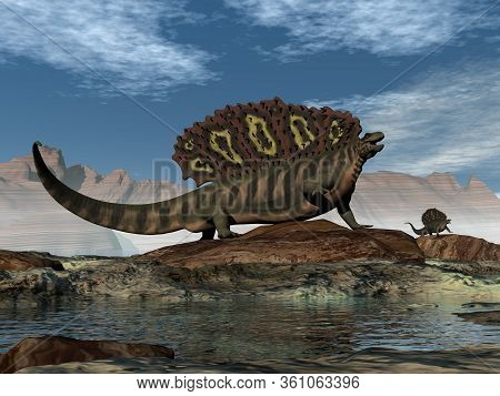 Edaphosaurus Prehistoric Animal Walking On A Rock By Day - 3d Render