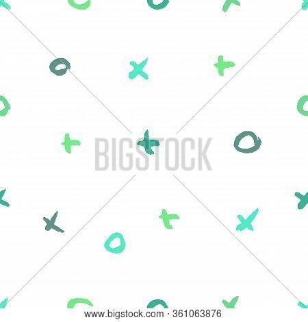 Eco Green Palette Seamless Pattern With Abstract Ornament. Colorful Ink Dry Brush. Pastel Colors. Ha