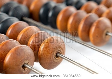 Wooden Vintage Abacus, Close-up View, Finance Object