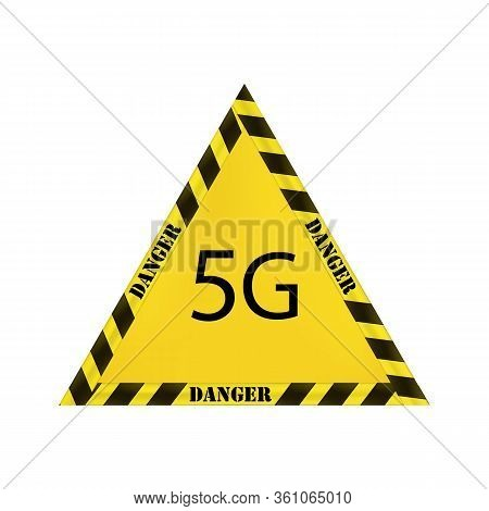 Yellow Vector Triangular Sign With Yellow And Black Restrictive Strip On A White Background. Danger