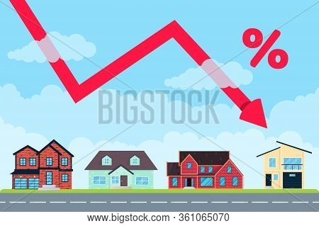 House Price Like Arrow Fall Down From The Air For Many. Good Investment Concept Or Low Money Price F