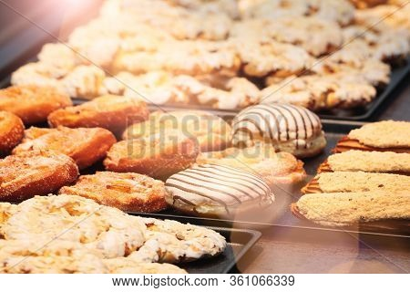 Fresh Bars Cakes Buns Cookies Background, Dessert, Sweets For Tea. Fattening Sweets Concept