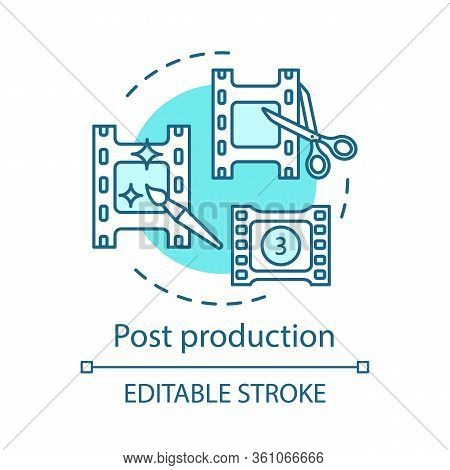 Post Production Concept Icon. Video Editing Idea Thin Line Illustration. Film Making. Motion Graphic
