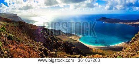 Stunning nature of volcanic Lanzarote . Canary islands scenic landscape Mirador del Rio