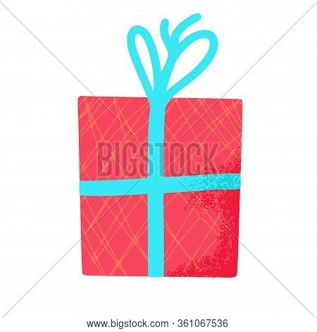 Gift Box Isolated On White Background. Giftware. Holiday Presents Symbol. Vector Illustration.