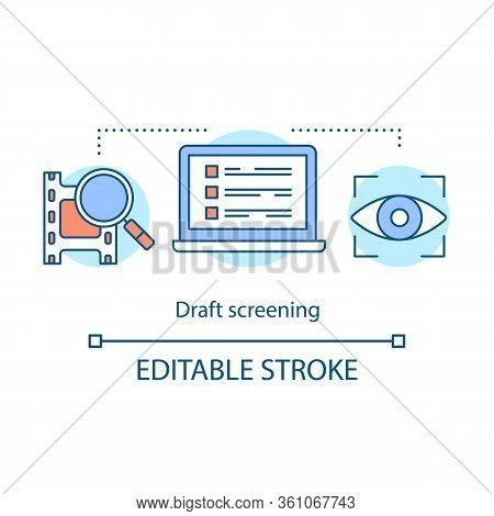 Film Draft Screening Concept Icon. Video Preview Idea Thin Line Illustration. Movie Premiere. Video