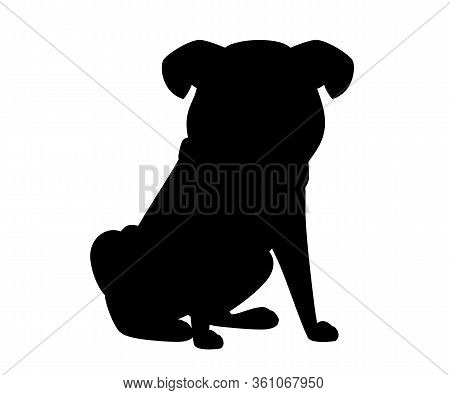 Black Silhouette Cute Small Friendly Pug Dog Cartoon Domestic Animal Design Flat Vector Illustration